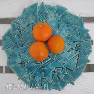 turkusowa patera w trójkąty, ceramiczna, patera, nowoczesna, ceramika, turkusowy