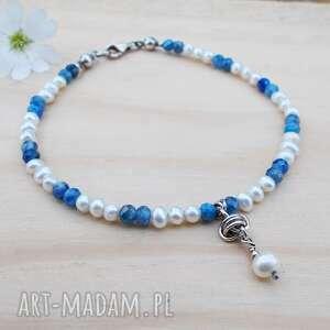 perłowo niebieska z supełkiem - bransoletka, srebrna