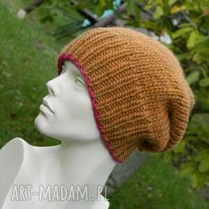 hand-made czapki 100% wool zimowa wełniana czapka miedziana