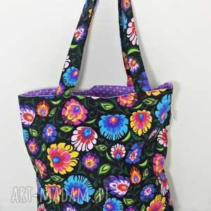 torba na zakupy ekologiczna shopperka czarny łowicz, torba, torba-na-zakupy