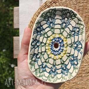 ceramiczna kolorwa mydelniczka etno, mydelniczka, parapetówka, prezent, etno