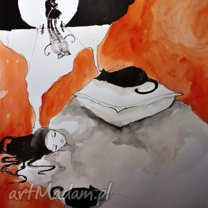 akwarela w krainie snów artystki plastyka adriany laube, akwarela, dziewczyna, kot