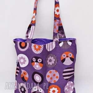 torba na zakupy shopperka ekologiczna zakupowa ramię bawełniana sowy