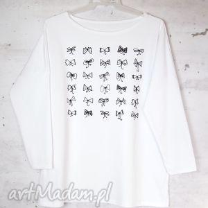 bluzki kokardki bluzka oversize bawełniana s/m white, bluzka, bawełniana, bawełna