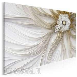 obraz na płótnie - kwiat biżuteryjny glamour złoty 120x80 cm 99001