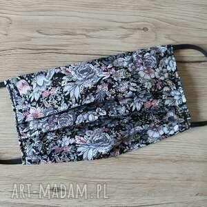 maseczki maseczka bawełniana - szare kwiaty, maska, maseczka, maseczki, kolorowe