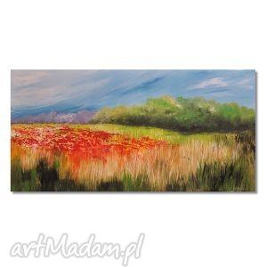 łąka przed burzą, obraz ręcznie malowany, łąka, polne, kwiaty, pejzaż,