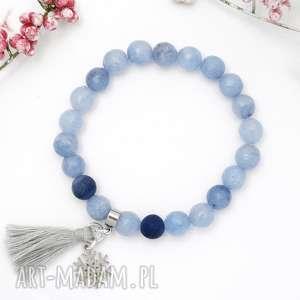 bransoletka z kamieni naturalnych - nature blue agate vol 2, brasnoletka, agat