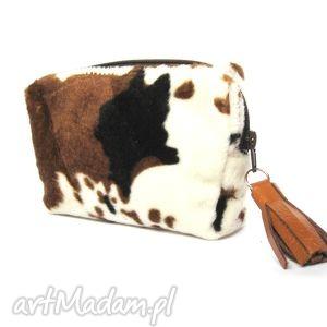 country pouch , futrzana, kosmetyczka, handmade, brelok, skóra, łaty