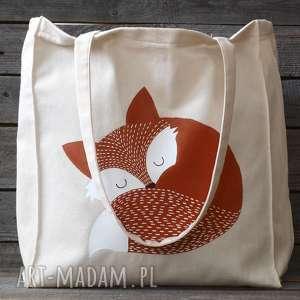 ręcznie malowana torba lis, torba, eko, ręcznie, malowana, lisek