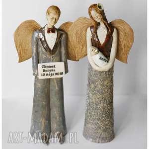 Aniołowie chrzestni z tabliczką dedykacyjną, ceramika, anioł,