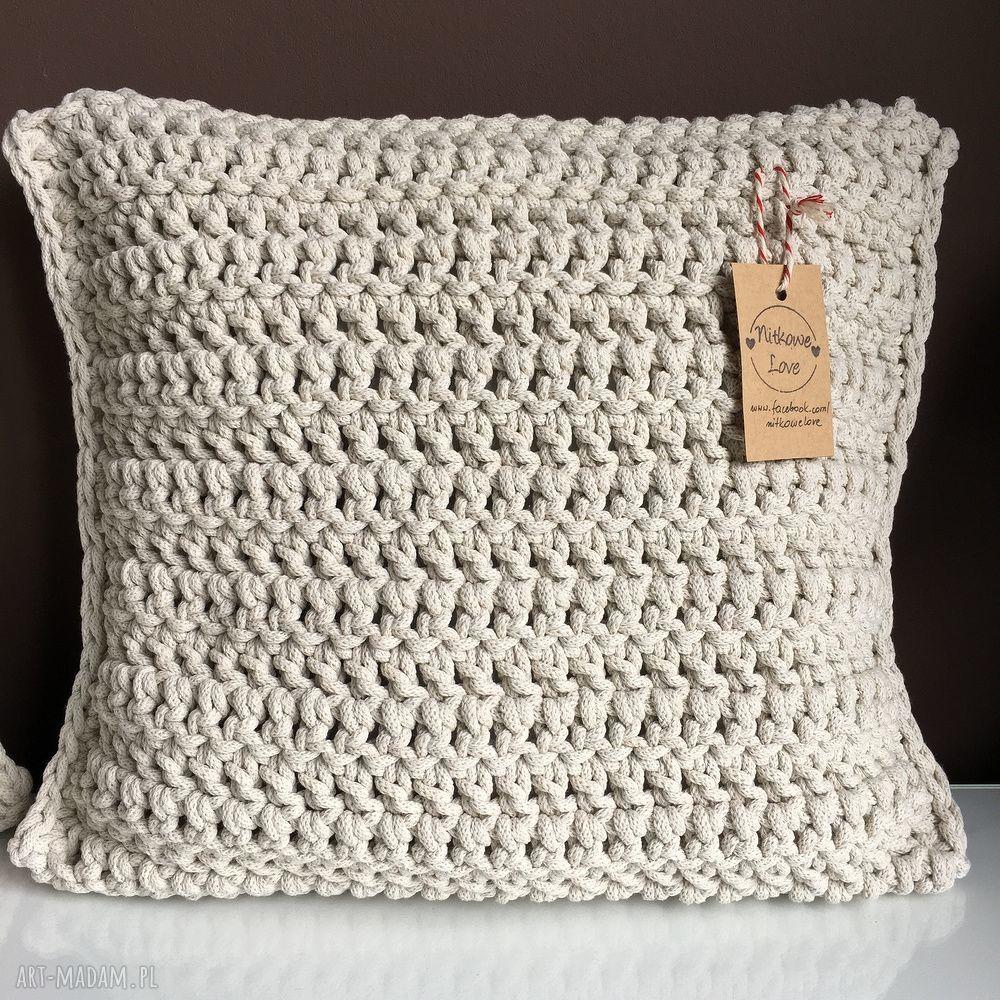 ręczne wykonanie poduszki poduszka ze sznurka bawełnianego krem 40x40 cm