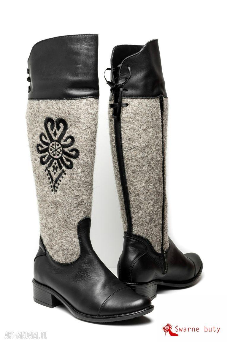 ręcznie robione buty kozaki z parzenicą