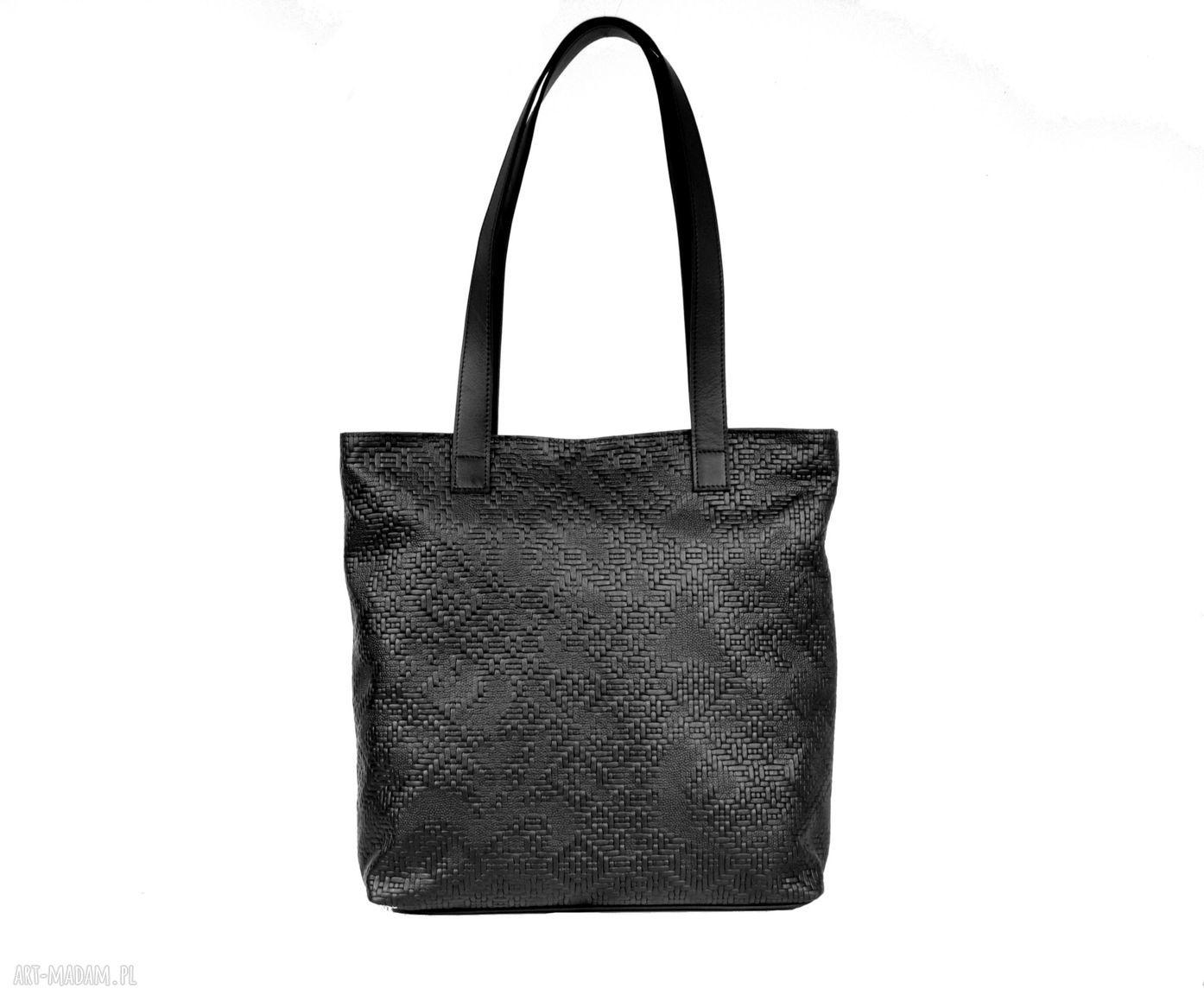 torebki torebka czarna wytłaczana skórzana torba