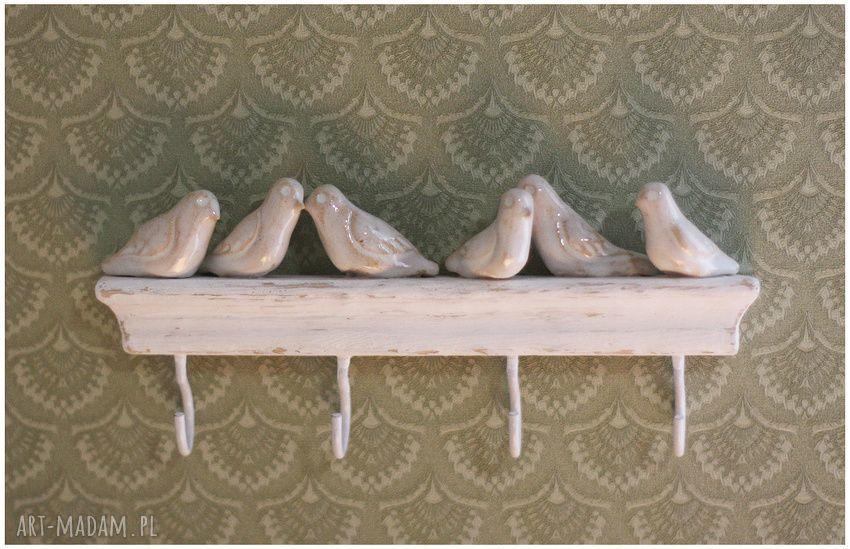 handmade ceramika wieszak z ptaszkami
