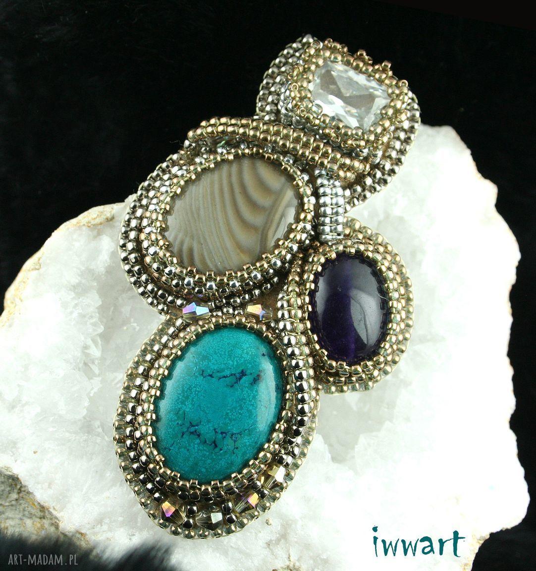 srebrne broszki półszlachetne broszka liść z kamieni