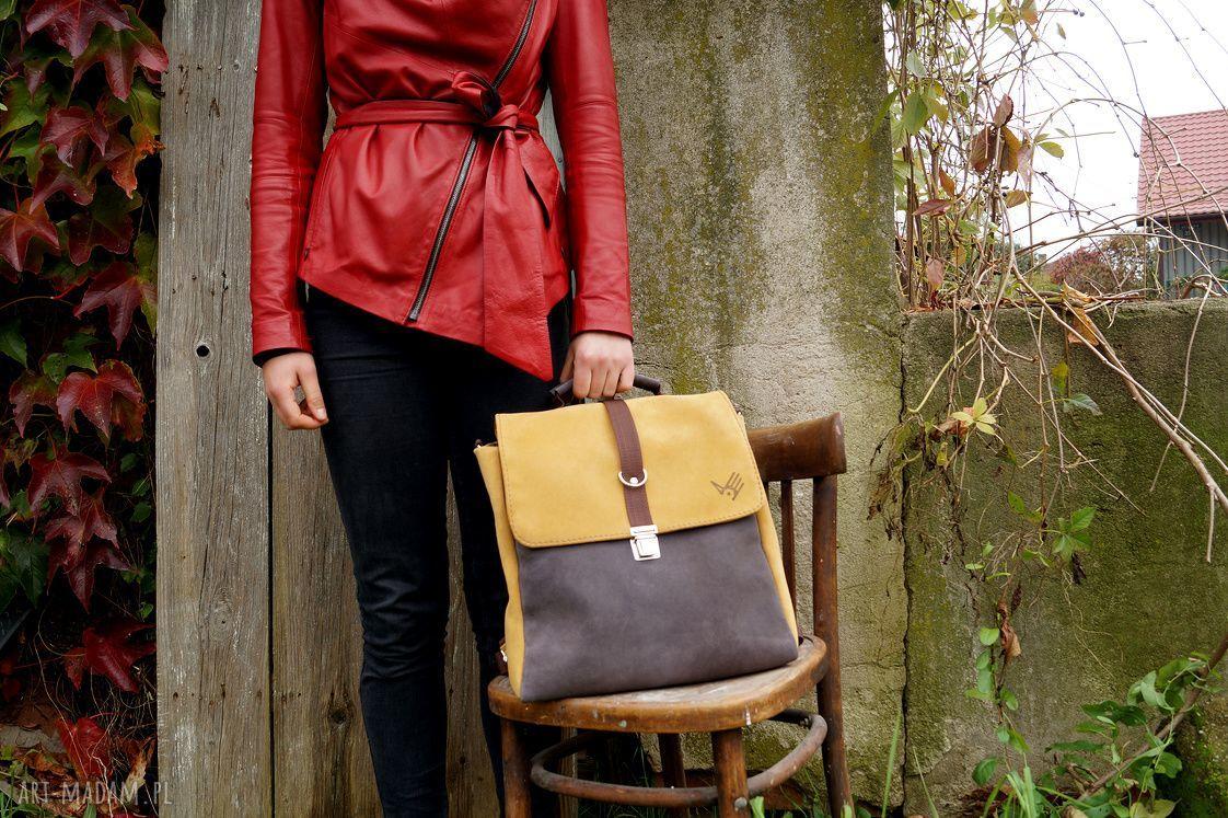 na ramię zamsz plecak/teczka żółto-szara