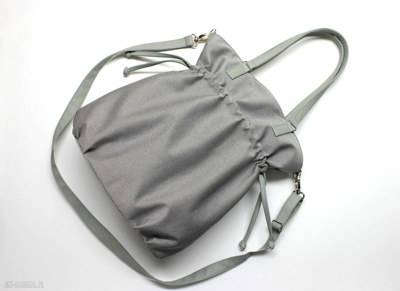 handmade na ramię hobo sack - sakiewka - szara