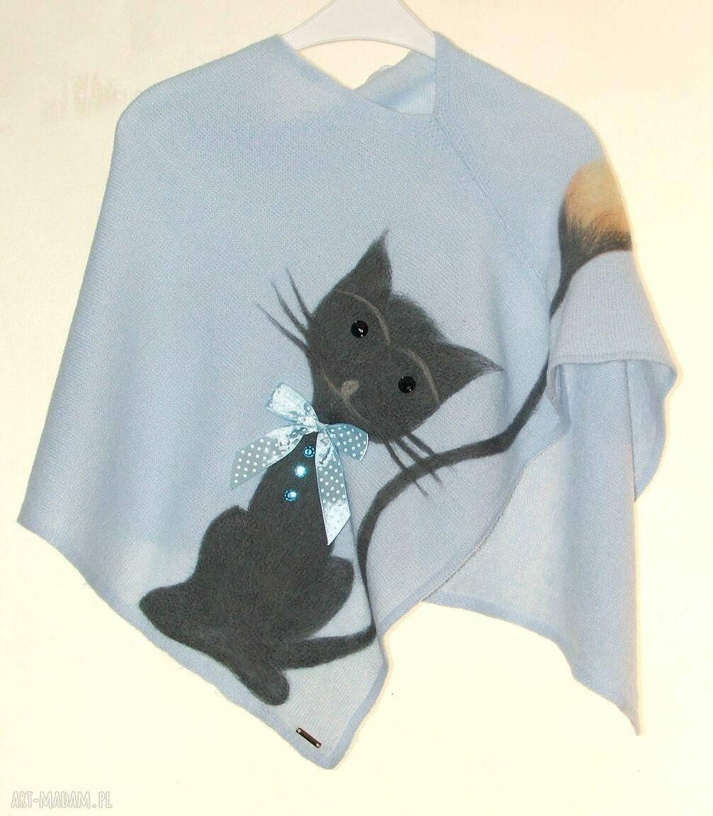 hand-made ubranka ponczo dla dziewczynek wełną zdobione