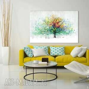 obraz do salonu drukowany na płótnie z drzewem, kolorowe drzewo, duży format