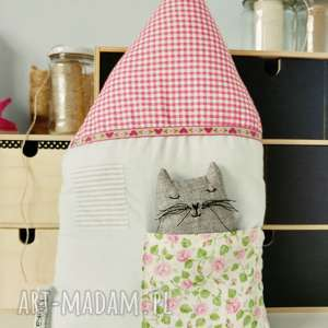 domek z kotkiem - ,poduszka,podusia,domek,kot,kotek,haft,