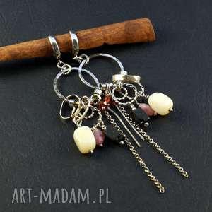 opal i truskawki, kolczyki, opal, kwarc, turmalin, surowe-srebro, srebro-oksydowane
