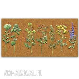 obraz na płótnie ciepłe ziółka 120x60, zioła, kwiaty, rustykalne, rośliny