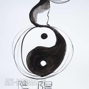 adriana laube art balans z kotem chiński znak równowagi yin i yang - akwarela