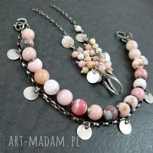 Opal różowy komplet, opal, grona