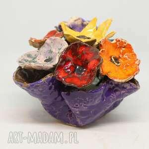 piękny komplet donica i kwiaty ceramiczne 8szt handmade