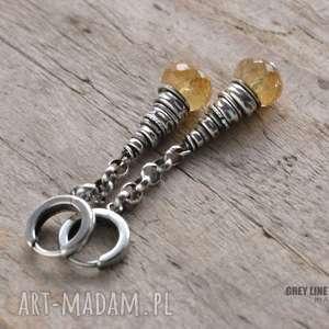 kolczyki wiszące z cytrynem, długie, wiszące, srebrne, minerały, cytryn, surowe