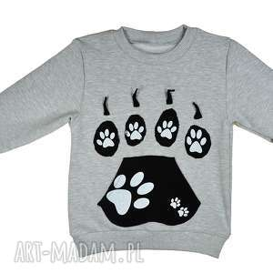 Szara bluza dresowa, BAWEŁNA Psie Łapy, rozm. 68-116, dres, bawełniana, szara-bluza