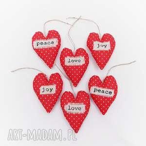 zestaw 6 sztuk bombek choinkowych peace love joy