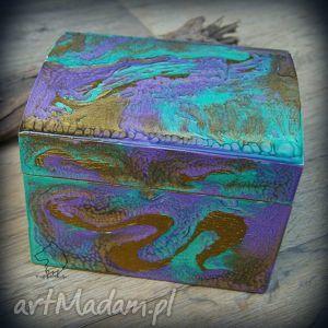 Ręcznie malowane drewniane pudełko Wiosenna Smocza Skóra , pudełko, drewno,