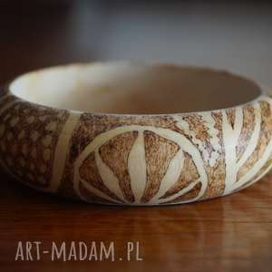bransoleta drewniana - abstrakcyjne inspiracje - abstrakcja, wypalana retro