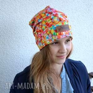 Prezent Kolorowa czapka cukierki lentylki beanie, czapka, kolorowa, ciepła