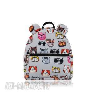 plecaczek farbiŚ 2083 koty szare - ręcznieszyte, wygodna, pojemna