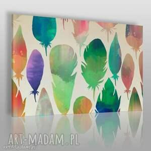 obrazy obraz na płótnie - kolorowe pióra 120x80 cm 32202 , pióro, pióra, kolorowy