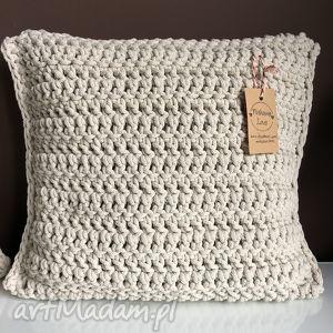 poduszka ze sznurka bawełnianego krem 40x40 cm, poduszka, poszewka, sznurek