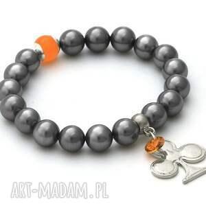 autorskie bransoletki steel pearl & orange jade with pendants