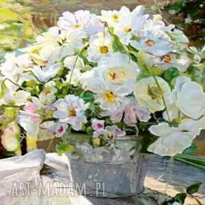 obrazy kwiaty bukiet białych kwiatów, 70 x 50, obraz na płótnie, malowany