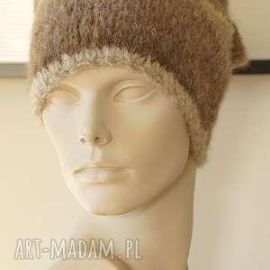 Alpakowa czapka w brązach, alpaka, wełniana, czapka, dziergana, paski,
