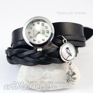ręcznie zrobione zegarki bransoletka, zegarek - ptaszek czarny, koniczynka