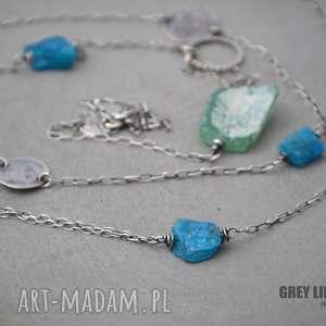 naszyjnik ze szkłem antycznym i apatytem, srebro, szkło, antyczne, minerały