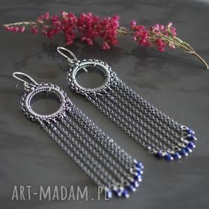 kobaltowy lapis lazuli - kolczyki elhan, srebro, kolczyki, długie, lazuli, wire