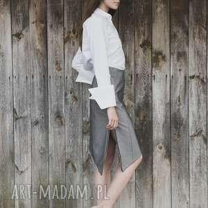 spódnice asymetryczna spódnica jeansowa, spódnica, minimalizm, szary, asymetria