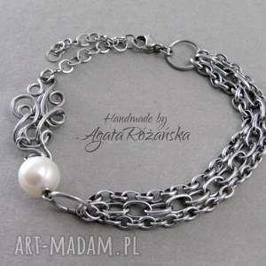 Bransoletka z perłą naturalną, wire wrapping, stal chirurgiczna, bransoletka