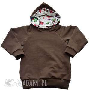 brązowa bluza dla chłopca, auta, bawełniana z kapturem i kieszeniami, rozm
