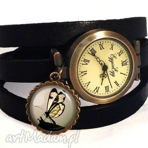 handmade zegarki motyl w sepii - zegarek / bransoletka na skórzanym pasku