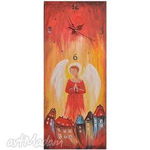 zegar- obraz anioł stróż, zegar, obraz, anioł